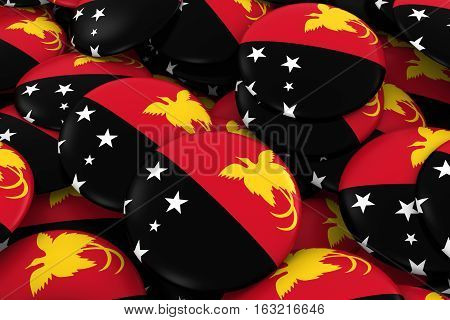 Papua New Guinea Badges Background - Pile Of Papuan Flag Buttons 3D Illustration