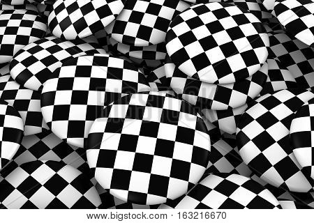Racing Checkers Badges Background - Pile Of Checkered Flag Buttons 3D Illustration