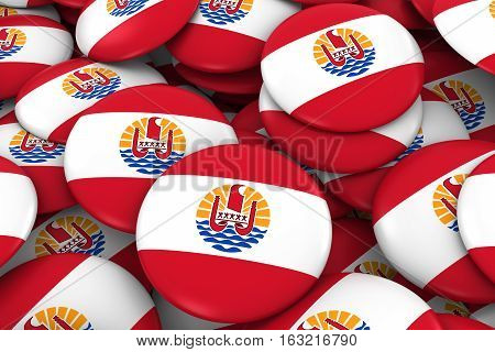Tahiti Badges Background - Pile Of Tahiti Flag Buttons 3D Illustration