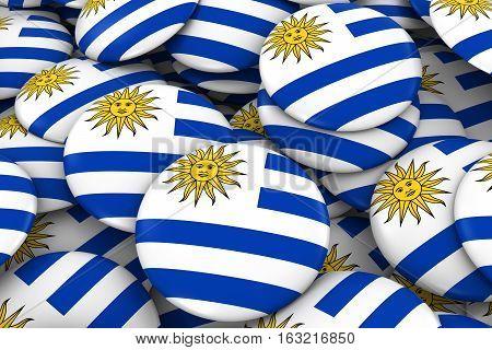 Uruguay Badges Background - Pile Of Uruguayan Flag Buttons 3D Illustration