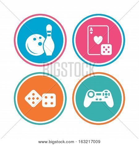 Bowling and Casino icons. Video game joystick and playing card with dice symbols. Entertainment signs. Colored circle buttons. Vector
