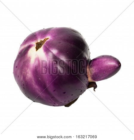Fresh Eggplant Isolated on white. Selective focus.