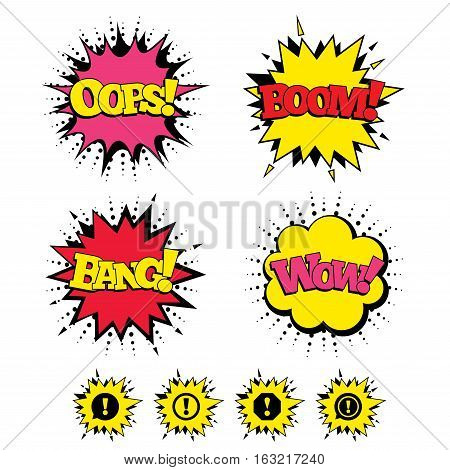Comic Boom, Wow, Oops sound effects. Attention icons. Exclamation speech bubble symbols. Caution signs. Speech bubbles in pop art. Vector