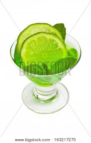 Lime and Mint, Green Vodka Drink Isolated on white background. Selective focus.