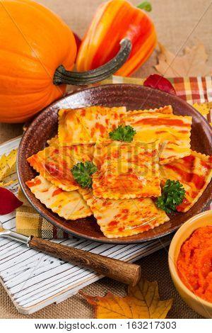 Roasted Pumpkin Gourmet Pasta Ravioli Main Dish. Selective focus.