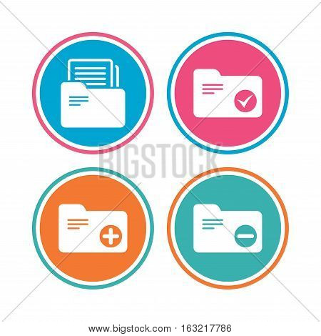 Accounting binders icons. Add or remove document folder symbol. Bookkeeping management with checkbox. Colored circle buttons. Vector
