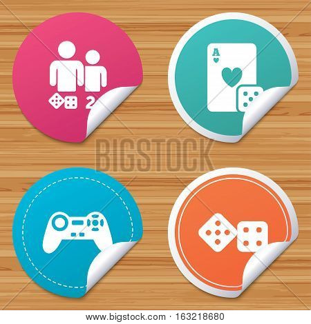 Round stickers or website banners. Gamer icons. Board games players signs. Video game joystick symbol. Casino playing card. Circle badges with bended corner. Vector