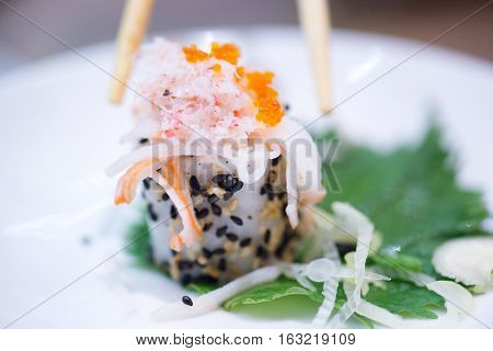 Focus soft of fresh sushi on white disc