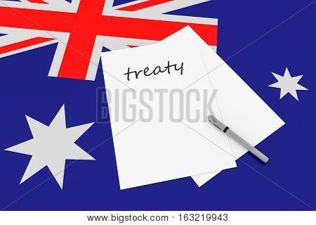 Australian Politics: Treaty Note With Pen On Australia Flag 3d illustration