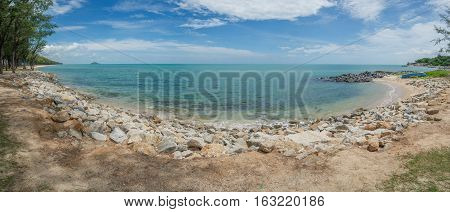 Seascape panorama. Chalathat beach in Songkhla province South of Thailand.