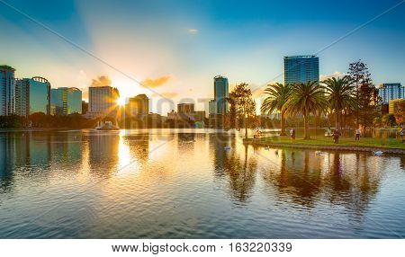 Orlando, Florida, USA, downtown city skyline from Eola Park.