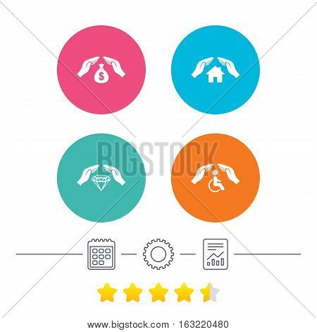 Hands insurance icons. Money bag savings insurance symbols. Disabled human help symbol. House property insurance sign. Calendar, cogwheel and report linear icons. Star vote ranking. Vector