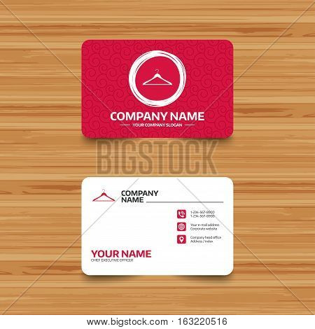 Business card template with texture. Hanger sign icon. Cloakroom symbol. Phone, web and location icons. Visiting card  Vector