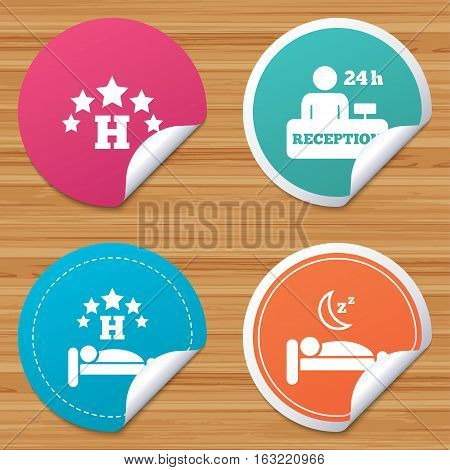 Round stickers or website banners. Five stars hotel icons. Travel rest place symbols. Human sleep in bed sign. Hotel 24 hours registration or reception. Circle badges with bended corner. Vector