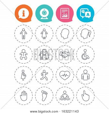 Human icons. Male and female symbols. Infant toddler and pregnant woman. Wheelchair for disabled. Success deal handshake. Information, question and answer icons. Web camera, report signs. Vector