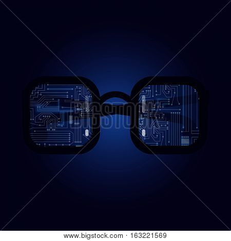 Electronic Glasses with a technological electronics circuit.
