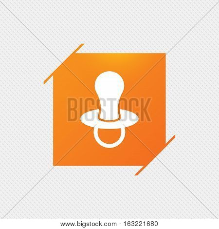 Baby's dummy sign icon. Child pacifier symbol. Orange square label on pattern. Vector