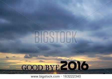 illustration of end of the year 2016 with goodbye words and sunset background at the seaside