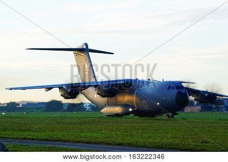 A400M Airbus Milititary Aircraft of Royal Malaysian Air Forces at Subang Airport during take off for air show on 21st December 2016.