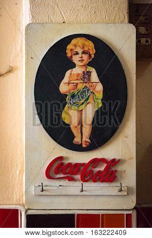 Ayutthaya Thailand - December 30 2015: Vintage Coca Cola advertisement poster design