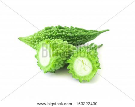 Momordica charantia on white background ,Used for cooking