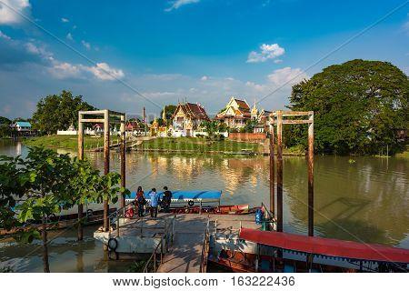 Ayutthaya Pier And Wat Mondop Temple