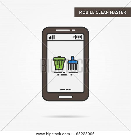 Linear mobile cleanup master. Flat phone online clearing app. Mobile web clear up technology symbol. Creative mobile clean master graphic design. Vector clean software illustration.