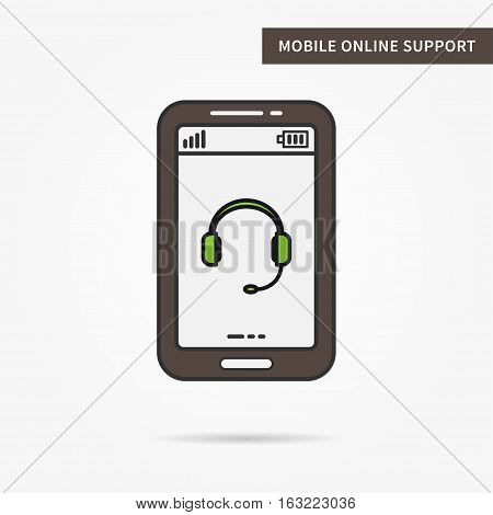 Linear mobile online support. Flat phone online support help support assistance app. Mobile web support technology symbol. Vector support software illustration.