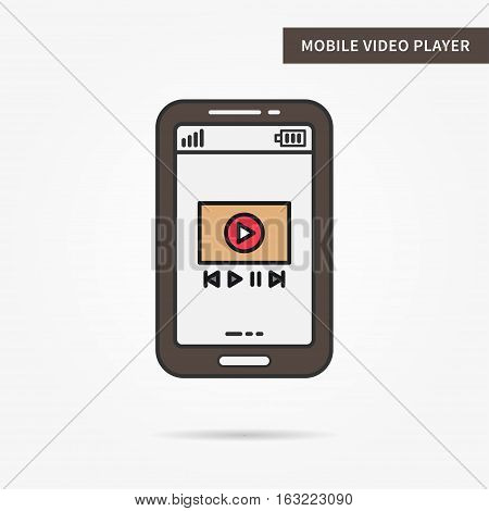 Linear mobile video player. Flat phone online video stream audio multimedia film movie app. Mobile web video technology symbol. Vector video software illustration.