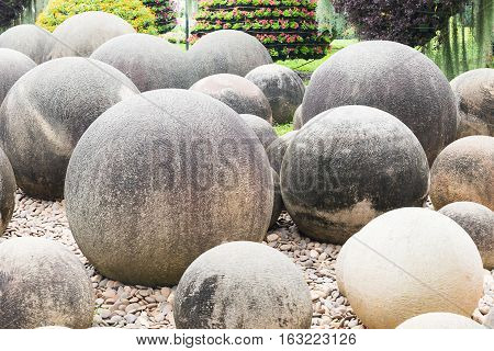 Close Up Stone In Japanese Garden