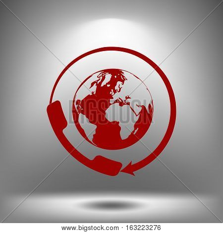 Worldwide Customer Support Call-center. Flat Icon