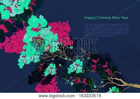 Vector Plum Blossom.Traditional Chinese elements. Happy Chinese New Year
