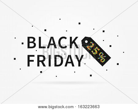 Black Friday 25 percent discount vector illustration on grey background. Black Friday 25 percent off discount creative promotion concept. Special offer element for banner coupon retail marketing.
