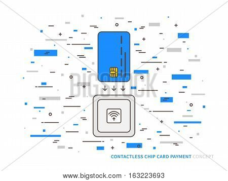 EMV chip card contactless reader colorful vector linear illustration. Secure transaction emv chip card creative concept. Emv card wireless payment money transfer technology graphic design.