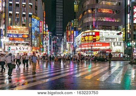 People At Pedestrian Crossing In Kabukicho Ichibangai