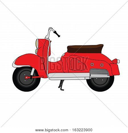 Flat old vintage retro moped red scooter.
