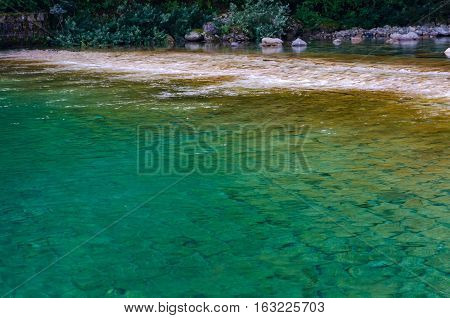 Clear Waters Of Kiso River. Kiso Valley, Nagano Prefecture, Japan
