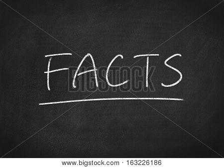 facts concept word on blackboard chalkboard background
