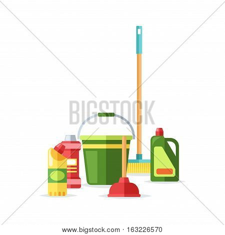 Home cleaning tools flat vector icons set. Vector products detergent symbols illustration. Other hygiene liquid isolated on white background. Housework equipment.