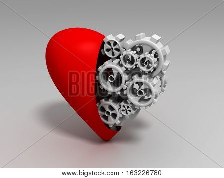 3d render, The heart and gears on a white background