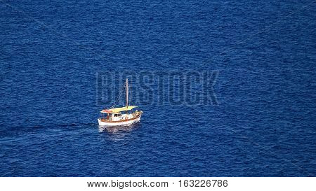 concept of a small fishing boat in sea