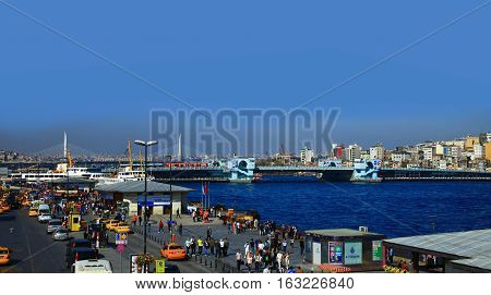 ISTANBUL TURKEY - 17 OCTOBER 2013: View of Eminonu and Galata Bridge in the Golden Horn Istanbul. Turkey.