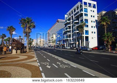 TEL AVIV ISRAEL - 15 DECEMBER 2012: View of the Shlomo Lahat promenade in the Tel Aviv city center.