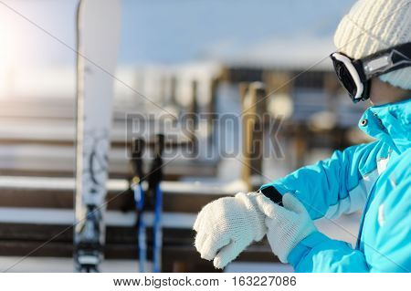 Watch For Sport Smart Watch. Skier On The Slope.