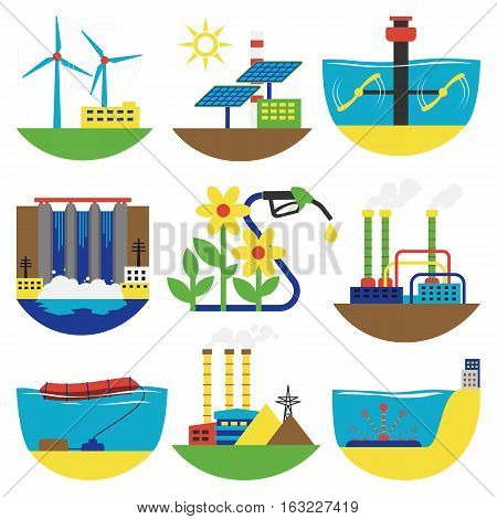 Different types of power and energy alternative sources generation including wind, solar, hydro or water dam and other