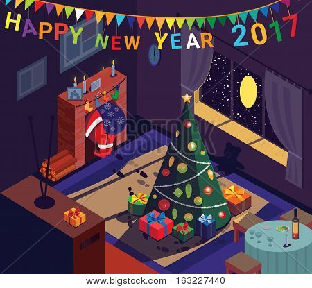 Santa goes up fireplace after leaving gifts. Cozy home New Year tree. Vector illustration.