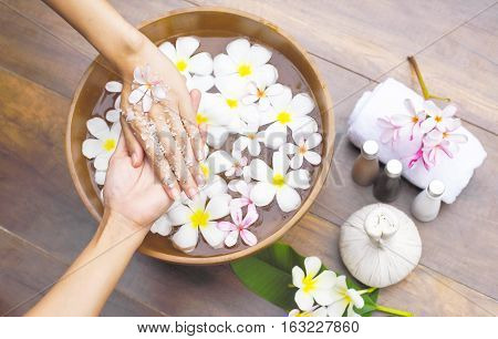 Spa Massage Compress Balls, Herbal Ball On The Wooden With Treaments Spa , Thailand, Soft And Select