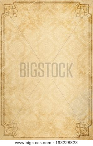 Yellowed old paper background with vintage patterns and decorative border. Vintage paper background with copy space for the text.