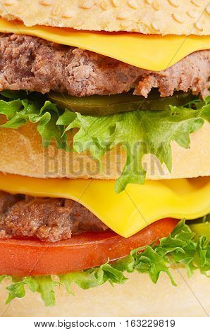 Hamburger With Cutlet And Cheese On White Background