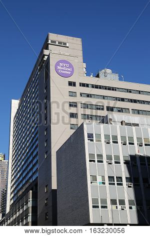 NEW YORK - DECEMBER 27, 2016: NYU Langone Medical Center in Manhattan.Based in New York City, it is one of the nation's premier academic medical centers devoted to patient care, education, and research